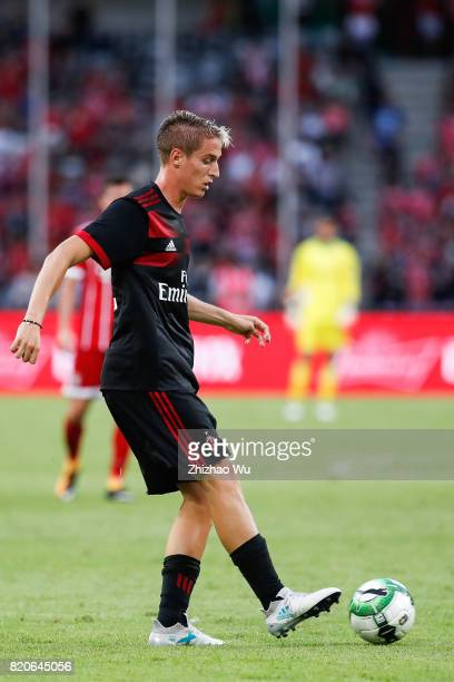 Andrea Conti of AC Milan controls the ball during the 2017 International Champions Cup China match between FC Bayern and AC Milan at Universiade...