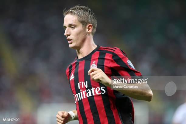 Andrea Conti of Ac Milan during the UEFA Europa League Qualifying PlayOffs round first leg match between AC Milan and KF Shkendija AC Milan wins 60...
