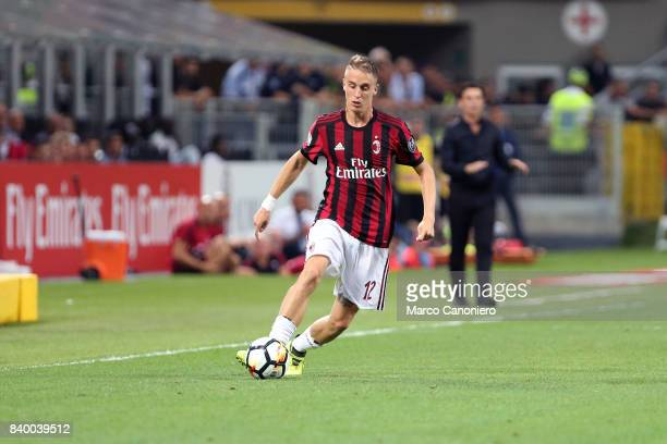 Andrea Conti of Ac Milan in action during the Serie A football match between AC Milan and Cagliari Calcio Ac Milan wins 21 over Cagliari Calcio