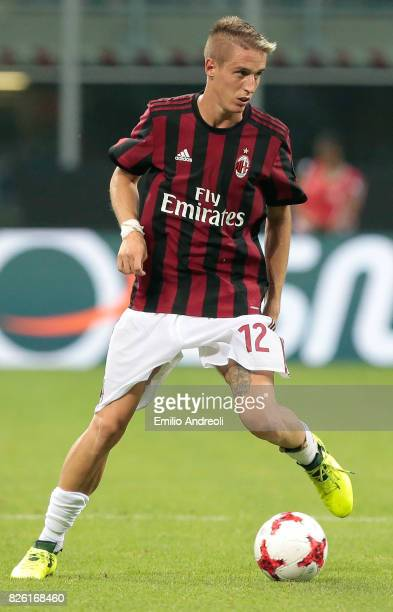 Andrea Conti of AC Milan in action during the UEFA Europa League Third Qualifying Round Second Leg match between AC Milan and CSU Craiova at Stadio...