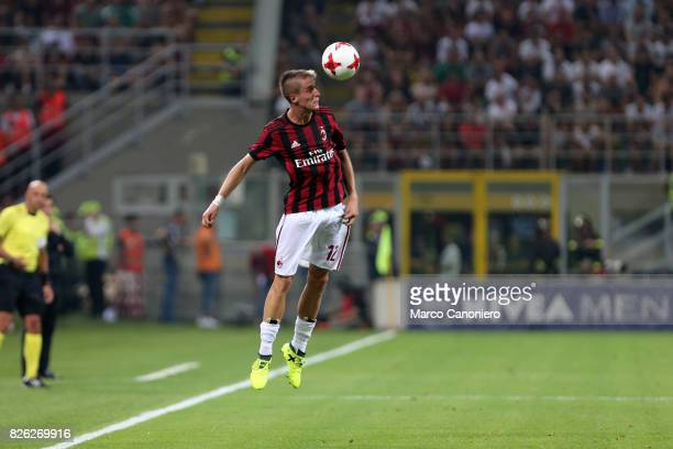 Andrea Conti of Ac Milan in action during the UEFA Europa League Third Qualifying Round Second Leg match between AC Milan and CSU Craiova AC Milan...