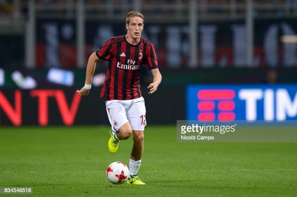 Andrea Conti of AC Milan in action during the UEFA Europa League Qualifying PlayOffs Round First Leg match between AC Milan and KF Shkendija AC Milan...
