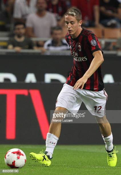 Andrea Conti of AC Milan in action during the UEFA Europa League Qualifying PlayOffs round first leg match between AC Milan and KF Shkendija 79 at...