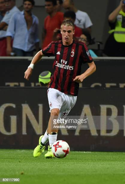 Andrea Conti of AC Milan in action during UEFA Europa League Qualifying Round match between AC Milan and CS U Craiova at Giuseppe Meazza of San Siro...