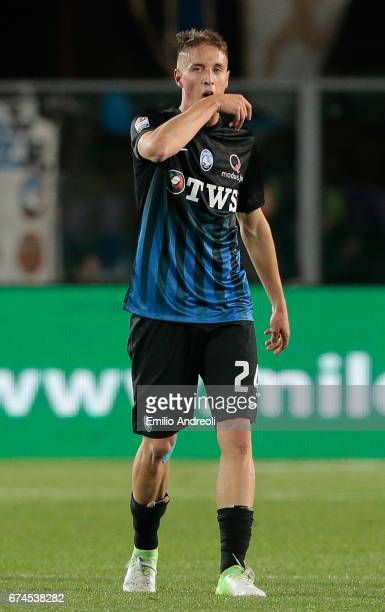 Andrea Conti of Atalanta BC celebrates after scoring the opening goal during the Serie A match between Atalanta BC and Juventus FC at Stadio Atleti...