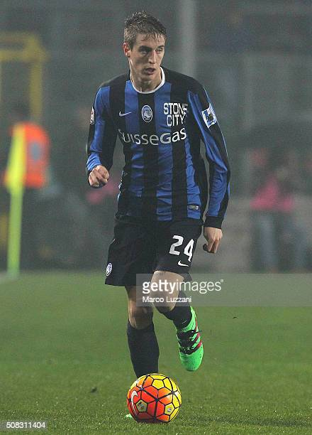 Andrea Conti of Atalanta BC in action during the Serie A match between Atalanta BC and US Sassuolo Calcio at Stadio Atleti Azzurri d'Italia on...