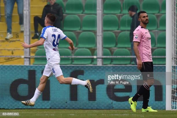 Andrea Conti of Atalanta celebrates after scoring the opening goal during the Serie A match between US Citta di Palermo and Atalanta BC at Stadio...