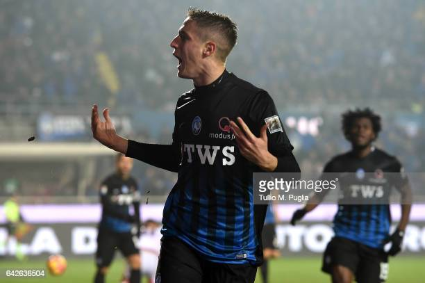 Andrea Conti of Atalanta celebrates after scoring the opening goal during the Serie A match between Atalanta BC and FC Crotone at Stadio Atleti...