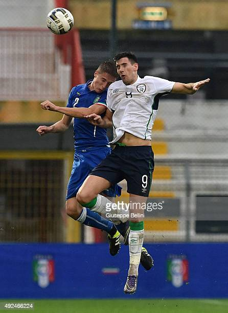Andrea Conti of Italy and Conor Wilkinson of Republic of Ireland in action during the 2017 UEFA European U21 Championships Qualifier between Italy...