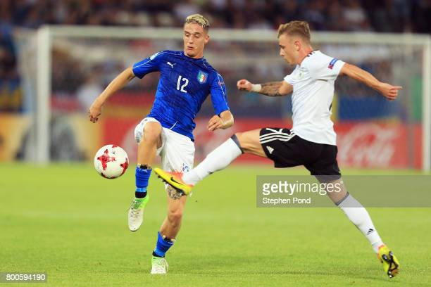 Andrea Conti of Italy and Max Meyer of Germany battle for the ball during the 2017 UEFA European Under21 Championship Group C match between Italy and...