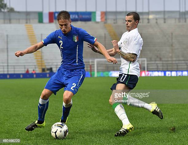 Andrea Conti of Italy and Sean Kavanagh of Republic of Ireland in action during the 2017 UEFA European U21 Championships Qualifier between Italy and...