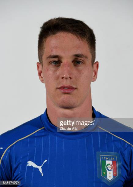Andrea Conti of Italy poses during the official portrait session at Coverciano on February 21 2017 in Florence Italy