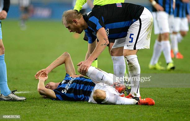 Andrea Conti of vAtalanta BC lies injured on the pitch during the TIM Cup match between Udinese Calcio and Atalanta BC at Stadio Friuli on December 2...