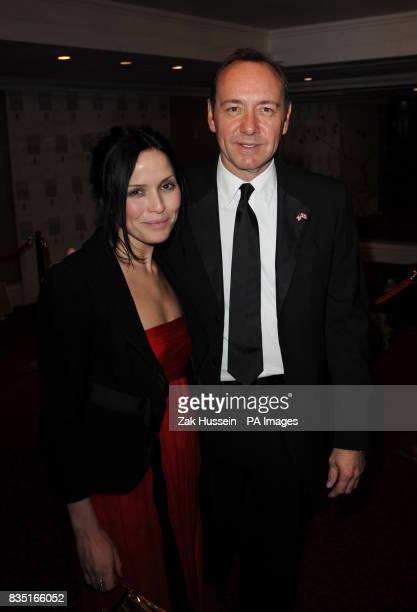Andrea Corr and Kevin Spacey arrive for the Laurence Olivier Awards at the Grosvenor Hotel in central London