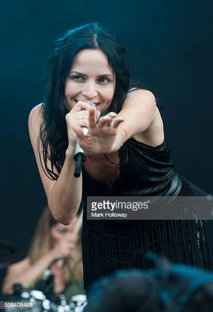 Andrea Corr of the Corrs performs on stage at Seaclose Park on June 11 2016 in Newport Isle of Wight