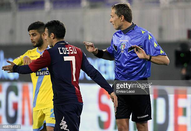 Andrea Cossu of Cagliar talks with the refree during the Serie A match between Cagliari Calcio and SSC Napoli at Stadio Sant'Elia on December 21 2013...