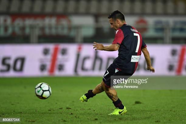 Andrea Cossu of Cagliari Calcio scored the penalty of the victory during the TIM Cup match between Cagliari Calcio and US Citta di Palermo at Stadio...