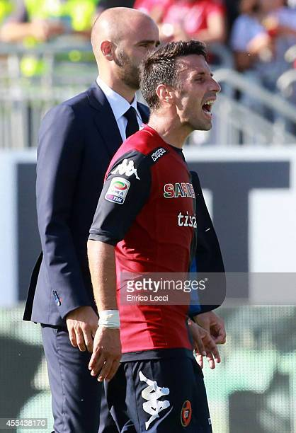 Andrea Cossu of Cagliari look on during the Serie A match between Cagliari Calcio and Atalanta BC at Stadio Sant'Elia on September 14 2014 in...