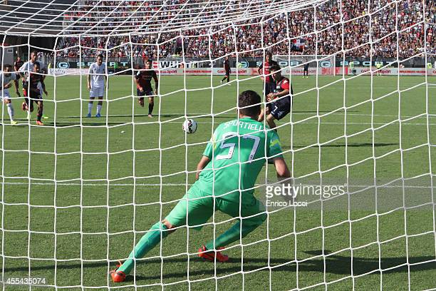 Andrea Cossu of Cagliari scored the goal during the Serie A match between Cagliari Calcio and Atalanta BC at Stadio Sant'Elia on September 14 2014 in...