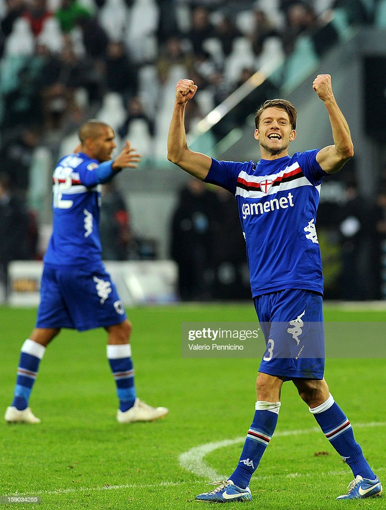 Andrea Costa of UC Sampdoria celebrates victory at the end of the Serie A match between Juventus FC and UC Sampdoria at Juventus Arena on January 6, 2013 in Turin, Italy.