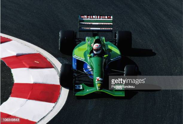 Andrea de Cesaris drives the Team 7up Jordan 191 Ford HB 35 V8 during practice for the French Grand Prix on 6th July 1991at the Circuit de Nevers...