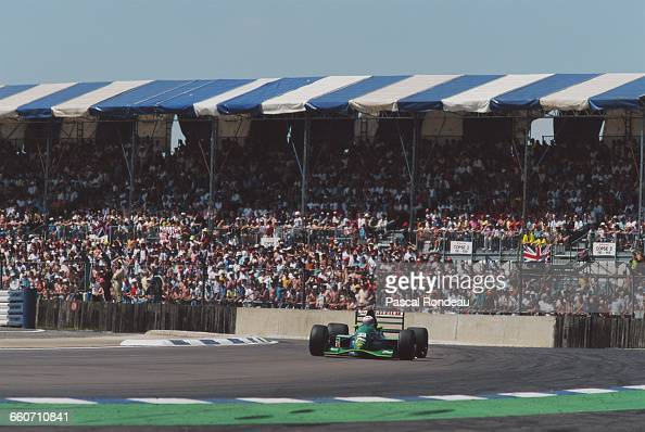 Andrea de Cesaris of Italy drives the Team 7UP Jordan Jordan 191 Ford HB4 V8 during the British Grand Prix on 14 July 1991 at the Silverstone Circuit...