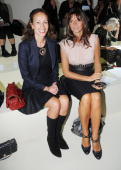 Andrea Dellal and Debbie Bismarck sit in the front row of the Marios Schwab Spring/Summer 2010 show at the Topshop Show Space during London Fashion...
