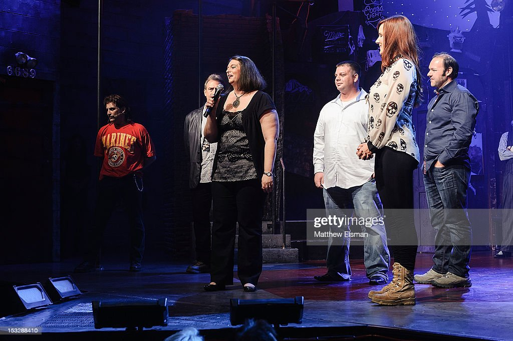 Andrea Dellinger (C) attends the 'Rock Of Ages' on Broadway Military Tribute Night at Helen Hayes Theatre on October 2, 2012 in New York City.