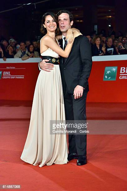 Andrea Delogu and Francesco Montanari walk a red carpet for 'Sole Cuore Amore' on October 15 2016 in Rome Italy