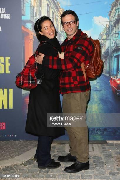 Andrea Delogu and Francesco Montanari walk the red carpet for 'Non e' Un Paese Per Giovani' at La Casa Del Cinema on March 16 2017 in Rome Italy