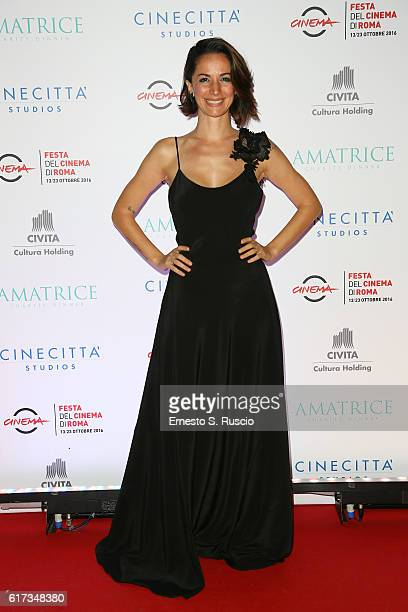 Andrea Delogu walks a red carpet at the charity dinner for Amatrice during the 11th Rome Film Festival at Auditorium Parco Della Musica on October 22...