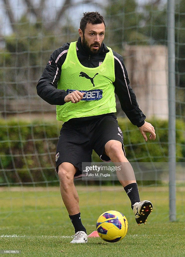 Andrea Dossena of Palermo in action during a training session at Tenente Carmelo Onorato Sports Center on January 10, 2013 in Palermo, Italy.