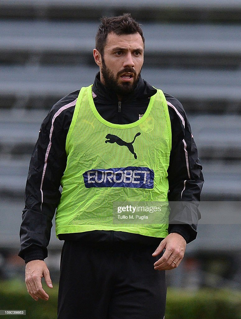 <a gi-track='captionPersonalityLinkClicked' href=/galleries/search?phrase=Andrea+Dossena&family=editorial&specificpeople=709826 ng-click='$event.stopPropagation()'>Andrea Dossena</a> of Palermo looks on during a training session at Tenente Carmelo Onorato Sports Center on January 10, 2013 in Palermo, Italy.