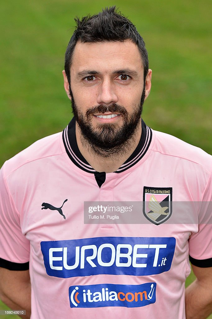 <a gi-track='captionPersonalityLinkClicked' href=/galleries/search?phrase=Andrea+Dossena&family=editorial&specificpeople=709826 ng-click='$event.stopPropagation()'>Andrea Dossena</a> of US Citta di Palermo poses for the team's official headshots before a training session at Tenente Carmelo Onorato Sports Center on January 10, 2013 in Palermo, Italy.