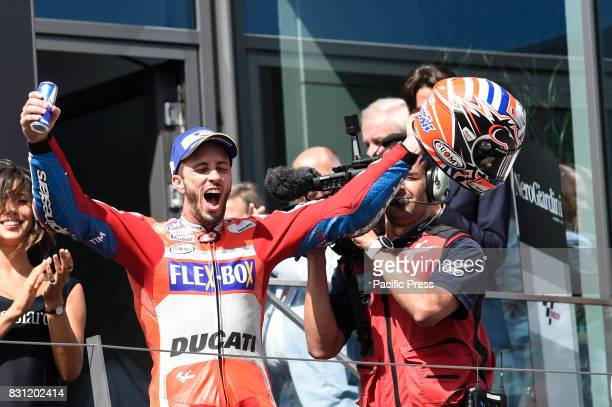 Andrea Dovizioso celebrate the first place on podium during MotoGP Grand Prix of Austria at Red Bull Ring Spielberg Austria
