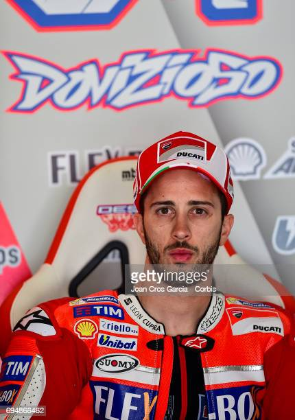 Andrea Dovizioso of Ducati Team in his box before the Qualifying Moto GP of Catalunya at Circuit de Catalunya on June 10 2017 in Montmelo Spain