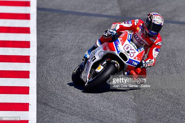 Andrea Dovizioso of Ducati Team riding his bike during the Free Practice 3 Moto GP of Catalunya at Circuit de Catalunya on June 10 2017 in Montmelo...