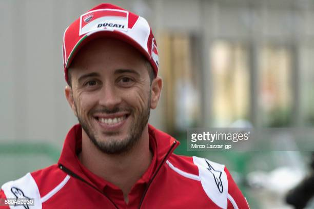 Andrea Dovizioso of Italy and Ducati Team arrives at the press conference ahead of the MotoGP of Japan at Twin Ring Motegi on October 12 2017 in...