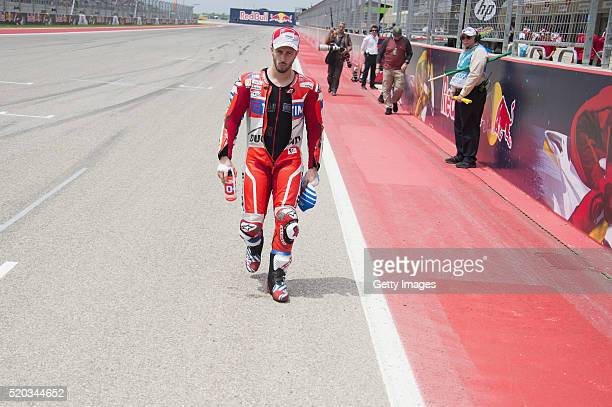Andrea Dovizioso of Italy and Ducati Team arrives in grid during the MotoGP race during the MotoGp Red Bull US Grand Prix of The Americas Race at...