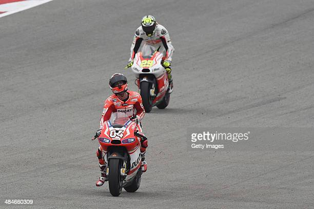 Andrea Dovizioso of Italy and Ducati Team celebrates the third place at the end of the MotoGP race during the MotoGp Red Bull US Grand Prix of The...