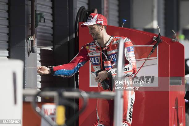 Andrea Dovizioso of Italy and Ducati Team enters in box during 2017 MotoGP preseason testing at Phillip Island Grand Prix Circuit on February 16 2017...