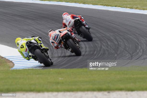 Andrea Dovizioso of Italy and Ducati Team leads the field during 2017 MotoGP preseason testing at Phillip Island Grand Prix Circuit on February 16...