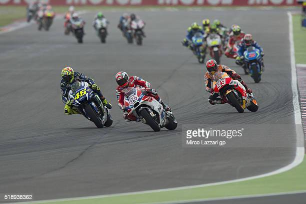 Andrea Dovizioso of Italy and Ducati Team leads the field during the MotoGP Race during the MotoGp of Argentina Race at Termas De Rio Hondo Circuit...