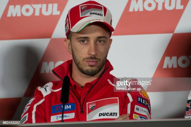Andrea Dovizioso of Italy and Ducati Team looks on during a press conference ahead of the MotoGP of Japan at Twin Ring Motegi on October 12 2017 in...