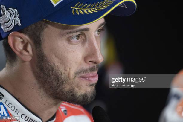 Andrea Dovizioso of Italy and Ducati Team looks on during the press conference at the end of the MotoGP race during the MotoGp of Austria Race at Red...