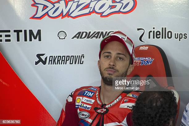 16 Andrea Dovizioso of Italy and Ducati Team looks on in box during the MotoGp Tests In Valencia at Ricardo Tormo Circuit on November 16 2016 in...