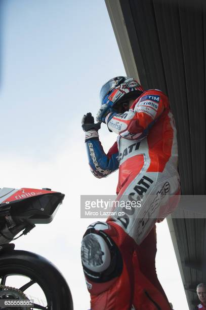 Andrea Dovizioso of Italy and Ducati Team prepares to start from box during 2017 MotoGP preseason testing at Phillip Island Grand Prix Circuit on...