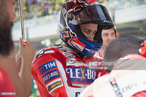 Andrea Dovizioso of Italy and Ducati Team prepares to start on the grid during the MotoGP race during the MotoGp of Italy Race at Mugello Circuit on...