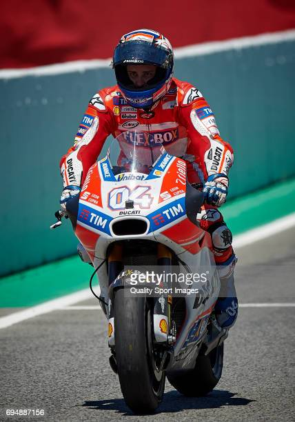 Andrea Dovizioso of Italy and Ducati Team rides after winning the Moto GP race at Circuit de Catalunya on June 11 2017 in Montmelo Spain