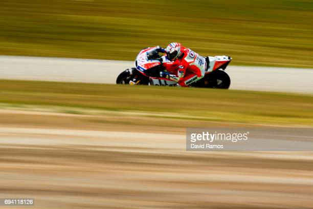 Andrea Dovizioso of Italy and Ducati Team rides during free practice for the MotoGP of Catalunya at Circuit de Catalunya on June 9 2017 in Montmelo...